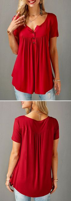 Red Short Sleeve Split Neck Curved Blouse.