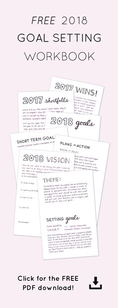 Download the Goal Setting Workbook with prompts to reflect on the past year, decide on a vision & theme for the new year, and set SMART goals. • Goal Setting Worksheets • Printable Goal Setting Worksheet • 2018 Business Goal Setting • Word of the Year • Theme of the Year • Implementing Goals