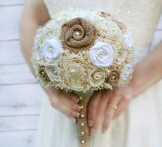 Natural Burlap, Sola Flower, and Baby's Breath Wedding Bouquet