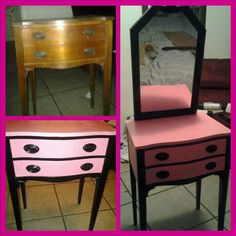 & after diy vanity, would use more neutral colors to fit my shabby chic style though. Love how small this is - Great for my SF apartment Furniture Projects, Furniture Makeover, Diy Furniture, Diy Projects, Repurposed Furniture, Painted Furniture, Diy Vanity, Bedroom Decor, Closet Bedroom