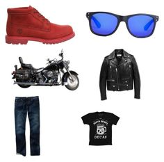 """""""Motorcycles!!!!!!!!( created by Anderson)"""" by ersculati ❤ liked on Polyvore featuring interior, interiors, interior design, home, home decor, interior decorating, Timberland and Yves Saint Laurent"""