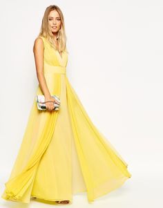 """Maxi dress by ASOS Collection Chiffon fabric Fully lined V-neckline Stretch waistband Pleated overlays Zip back fastening Regular fit - true to size Machine wash 100% Polyester Our model wears a UK 8/EU 36/US 4 and is 175 cm/5'9"""" tall"""