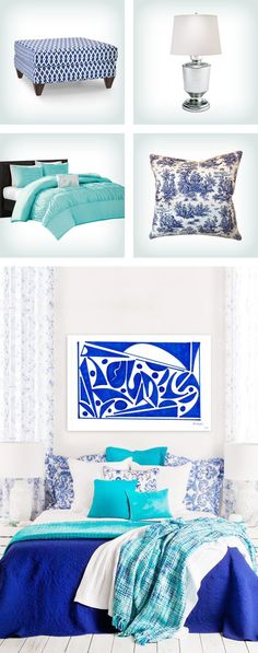 Whether your décor style is coastal or modern, a classic color combo of blue and white is sure to work in your home. When decorating with this cool color palette in your bedroom space, use the full spectrum of blue shades - deep midnight to bright azure to baby blue - for a well-rounded look. For subtle style, also trying mixing in different blue patterns, like floral throw pillows or a patterned upholstered bench, to create visual interest. Click to get this look on Wayfair.
