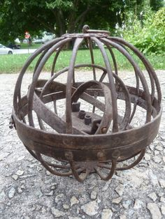 Antique 1800s Ships Wrought Iron Gimble Gimbal Spherical Whale Oil Lamp 7 inch