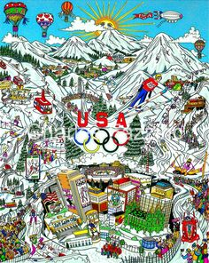 "Olympic Games, 2002 - Salt Lake City, UT 24"" x 30"".  #3dpopart by Charles Fazzino. #2002Olympics #SaltLakeCity2002 #WinterOlympics  #OlympicGames"