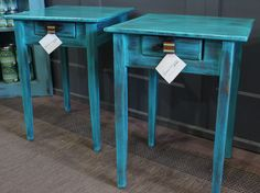 Tables in The Green Bureau booth in the marketplace at Black Dog Salvage. Can be used as end tables or night stands!