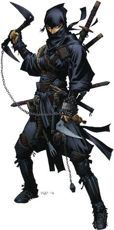 "Rieko by Wayne Renolyds. The ninja ""Iconic"" character for Pathfinder. Iconic characters in Pathfinder illustrate the hows and whys of class to players both new and old, along with having their own place in the setting."