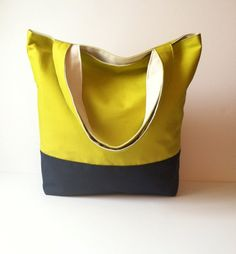 Reversible Canvas Tote - Color Block Tote Bag - Beach Bag - Summer Tote Bag on Etsy, $38.00
