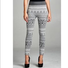 Aztec Fleece Leggings Fleece lined gray print aztec leggings which are super soft and flattering . Very comfortable leggings yet stylish and perfect subtle  print to add to your winter wardrobe . Size is one size will fit XS - XL . Please comment for personal listing Vivacouture Accessories Hosiery & Socks