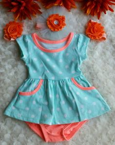 This is a cute Teal n Orange Newborn Baby Set.  You can buy just the top n pants , or the Headband n Barefoot Sandals.  Headband is 13in  Would be nice for a Baby Shower Gift  THE OUTFIT IS ACTUALLY THE DARKER COLOR IN THE FIRST PICTURE.