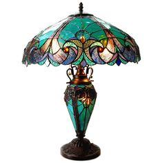 Chloe Lighting Liaison Tiffany-Style Victorian 3 Light Double Lit Table Lamp with Shade, x 18 x Multicolor -- More info could be found at the image url. (This is an affiliate link) Stained Glass Lamps, Stained Glass Windows, Mosaic Glass, Glass Art, Cut Glass, Window Glass, Light Table, Lamp Light, Light Bulb