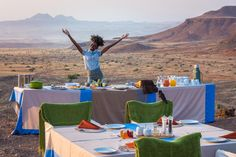 Breakfast is served! At Damaraland Camp our alfresco breakfast-with-a-view is an unforgettable way to start the day. Namib Desert, New Community, Get Outside, Wilderness, Family Travel, Safari, Travel Destinations, Wildlife, Around The Worlds