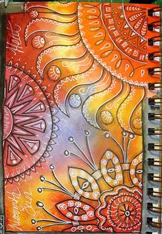 Sunshine Watercolor Background with Black Micron Pen & White Jelly Roll Pen - DionDior -Flickr