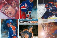 Wayne Gretzky the greatest all-time! Details from six paintings (three by Jeremie White). Wayne Gretzky, Sports Art, Love Art, Nhl, Hockey, All About Time, Paintings, Baseball Cards, Twitter