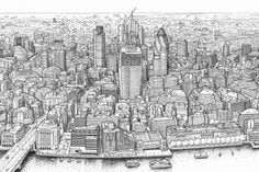 London Panorama Drawing - the view from the Shard by Mike Hall