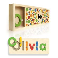 Personalised wooden Name Puzzles by tinyme.com.au This company has sites in the UK and Oz and ships worldwide. A gorgeous present for a first birthday. Educational, bright, fun and helps them to learn their name. Plus it comes in its own wooden box for storage. #1stbirthday #gift #giftlistguide