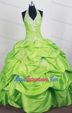 Halter Beaded 2014 Spring Green Quinceanera Dress with Pick-ups