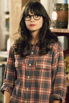 ea0eb1c050 30 Ways to Wear a Flannel Shirt. Zooey Deschanel GlassesZooey Deschanel  StyleBangs And GlassesGirl ...