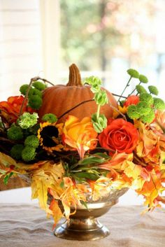 Last minute {charming and delightful} Thanksgiving Centerpiece