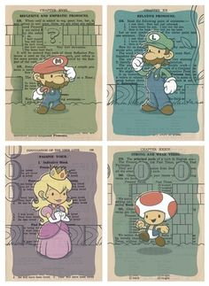 Prints of Super Mario Brothers characters on vintage book pages.