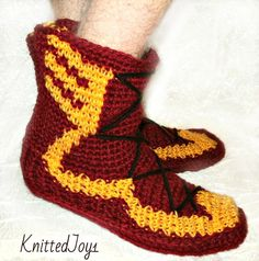 crochet slippers men shoes boots of travel homemade by KnittedJoy1