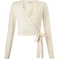 Miss Selfridge Cream Cashmere Wrap Cardi ($61) ❤ liked on Polyvore featuring tops, cardigans, sweaters, cream, wrap style tops, cream top, wrap cardigan, cream cashmere cardigan and white top
