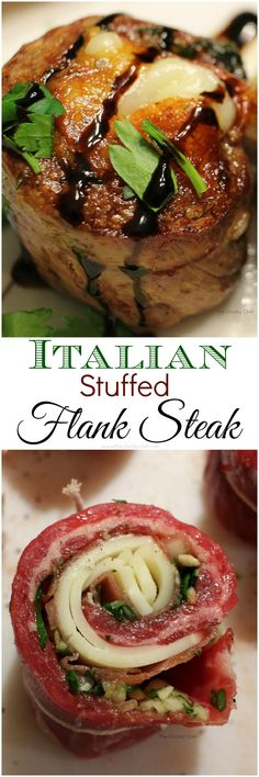 Tender flank steak rolled up with garlic, herbs, prosciutto, and provolone cheese.