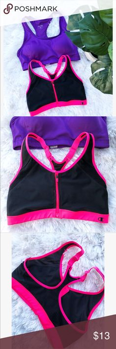 Champion Sports Bra Bundle This bundle includes both champion sports bras shown!  pink and black bra: -zip up front  -adjustable straps -can not find size on bra but fits like a medium -only worn once  Purple bra: -built in padding -size medium Champion Intimates & Sleepwear Bras