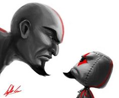 Quote from source: 'I recently made another Kratos sackboy as a gift and wanted to draw a little card as part of it. I was struggling between whether to draw sackboy Kratos or the original Kratos... and being indecisive I drew both. They definitely both got the smackdown staredown perfected, I am both envious and frightened by it. o_o Enjoy!'