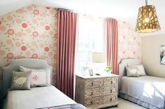 Beth Keim Design   Lucy and Company   Osborne and Little Eranthe Wallpaper   Upholstered Headboards   Monogrammed Pillows