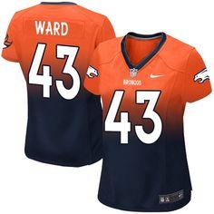 Nike Elite T.J. Ward Orange/Navy Women's Jersey - Denver Broncos #43 NFL Fadeaway