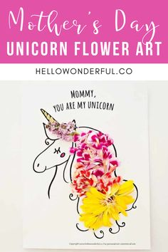 Mother's Day Unicorn Flower Art. Mother's Day Craft for kids.