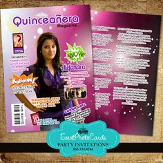 Magazine Cover for Quinceanera Invitations - Magazine Cover Quinceanera Invitations - Modern Designs - Shop by Theme - Quinceanera Invitations, Sweet Sixteen Invitations, Vip Passes - (Powered by CubeCart)