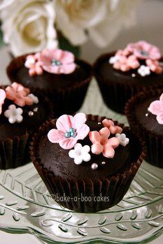 Spring theme dark chocolate cupcakes by Bake-a-boo Cakes NZ, via Flickr