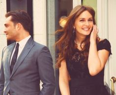 Ed Westwick and Leighton Meester on set of Gossip Girl.