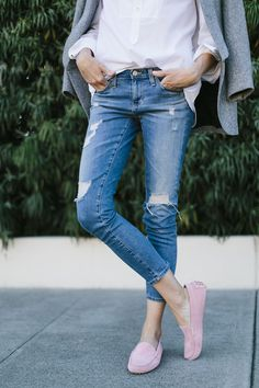 Distressed Cropped Jeans + Pink Moccasins | Could I Have That