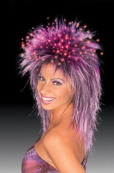 Fiber Optic Wig PurpleThe ultimate party wig! Fiber optic strands scattered through the top of the wig to give a very dramatic effect. Includes a watch 1.5 volt silver oxide battery.Costume Wigs & Hat