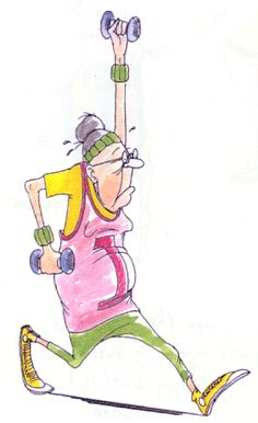 Fitness Queen, work out Granny, funny, illustration Comic Manga, Art Impressions Stamps, Illustrations, Funny Illustration, Digi Stamps, Funny Cards, Funny People, Old Women, Coloring Pages