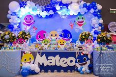 Shark Birthday Cakes, Boys First Birthday Party Ideas, Kids Birthday Themes, Monster Birthday Parties, Baby Boy 1st Birthday, 2nd Birthday Parties, Shark Party Decorations, Baby Boy Decorations, Birthday Party Decorations