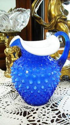 FENTON ART GLASS COBALT BLUE HOBNAIL PITCHER