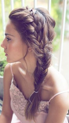 Monica: side braid with soft curls (instead of plaited all the way down)