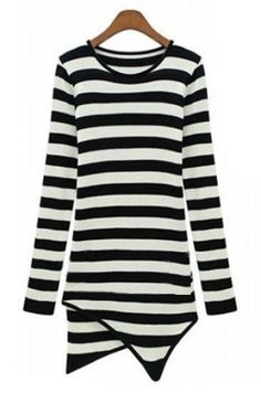 Black White Striped Long Sleeve Asymmetrical T