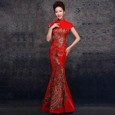 Women Chinese Red Embroidery Qipao Cheongsams Long Gown Wedding Evening Dress