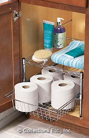 Under bathroom sink organization- Great for apartment living when storage is limited :)