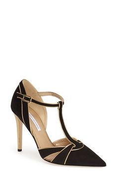 Free shipping and returns on Diane von Furstenberg 'Baylee' T-Strap Pump (Women) at Nordstrom.com. Gleaming goldtone piping illuminates the vintage-inspired lines of a dramatic pointy-toe pump featuring a slim T-strap and signature Diane von Furstenberg hardware at the sole.