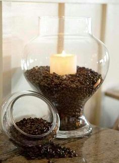 Coffee scented candle, Gradient chest of drawers, Rustic burlap curtains. Add them to your house for a cozy atmosphere and a bright look with our easy DIY ideas. Read more: http://couponsfantasy.com/3-diy-home-decor-ideas-to-brighten-your-home/