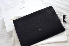 Celine Metallic Silver Mirror Leather Clutch Pouch Limited Edition ...