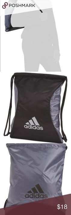 Adidas Sackpack Backpack straps with brand logo graphic 13in W x 18in H Drawstring closure adidas Bags Backpacks