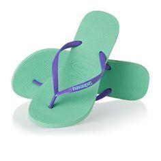 Havaianas Flip Flops - Havaianas Slim Logo Flip Flops - Light Green