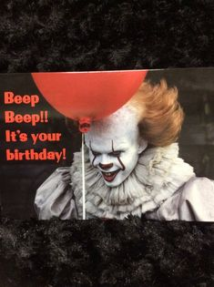 Horror birthday card - greeting card - halloween - It - pennywise - creepy clown - stephen king - red balloon - unique - - birthday card Happy Birthday Halloween, Happy Birthday Clip Art, Birthday Clown, Happy Birthday Funny, Happy Birthday Quotes, Happy Birthday Images, Happy Birthday Wishes, Birthday Greetings, Birthday Cards